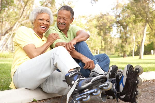 african-american-couple-roller-blading